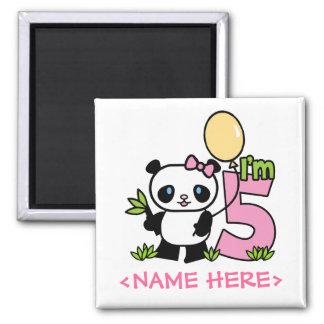 Cumpleaños del chica de la panda 5to imán cuadrado