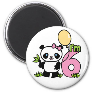 Cumpleaños del chica de la panda 6to imán redondo 5 cm