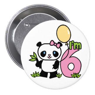Cumpleaños del chica de la panda 6to pin redondo de 3 pulgadas