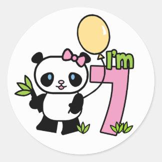 Cumpleaños del chica de la panda 7mo etiqueta redonda