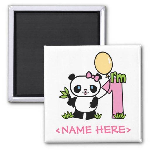 Cumpleaños del chica de la panda primer imán cuadrado