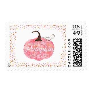 Cumpleaños del chica del confeti de la calabaza de sellos postales