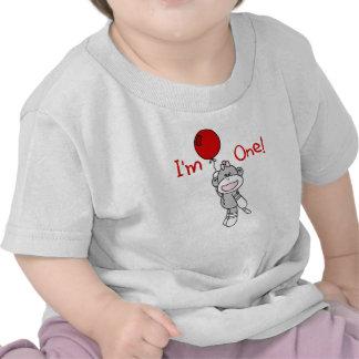 Cumpleaños del chica del mono del calcetín 1r camisetas