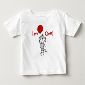 Cumpleaños del chica del mono del calcetín 1r t-shirt