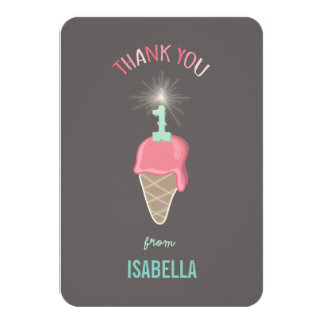 """Cumpleaños del chica del Sparkler del helado el 1r Invitación 3.5"""" X 5"""""""