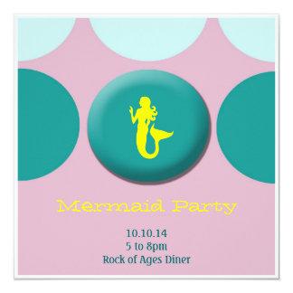 """Cumpleaños del chica - sirena invitación 5.25"""" x 5.25"""""""