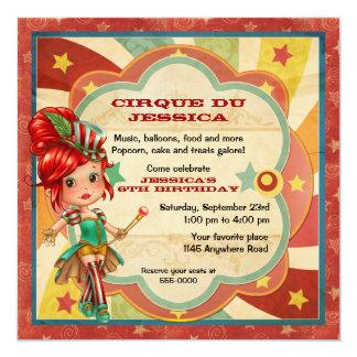 """Cumpleaños del circo de los chicas invitación 5.25"""" x 5.25"""""""