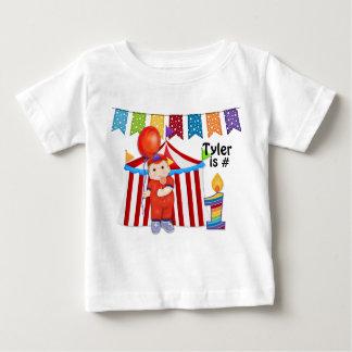 Cumpleaños del circo del lunar primer playera de bebé