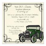 Cumpleaños del coche antiguo invitaciones personalizada