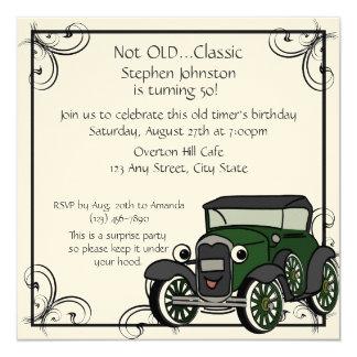 """Cumpleaños del coche antiguo invitación 5.25"""" x 5.25"""""""