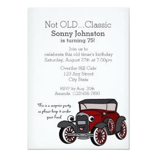 """Cumpleaños del coche antiguo invitación 5"""" x 7"""""""