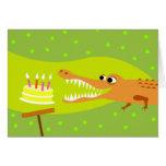 Cumpleaños del cocodrilo tarjeta de felicitación