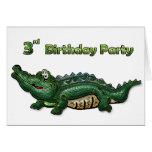 Cumpleaños del cocodrilo verde de la cuadrilla 3ro tarjetas