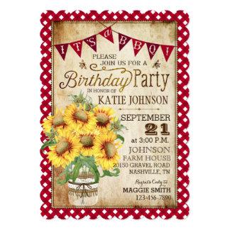 """Cumpleaños del control de los girasoles y de la invitación 5"""" x 7"""""""
