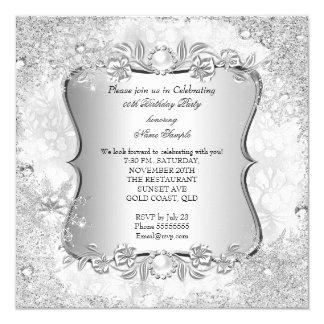 Cumpleaños del copo de nieve de la plata del país invitación 13,3 cm x 13,3cm