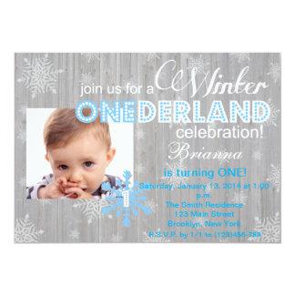 """Cumpleaños del copo de nieve de ONEderland del Invitación 5"""" X 7"""""""