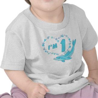 Cumpleaños del corazón del delfín 1r camiseta
