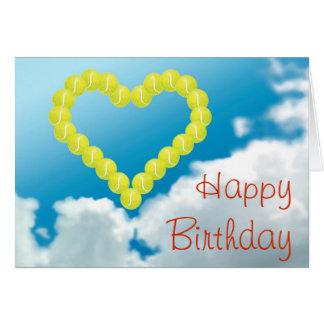 Cumpleaños del corazón del tenis feliz tarjeta de felicitación