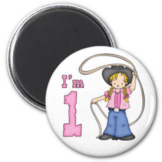 Cumpleaños del cordelero de la vaquera 1r imán de frigorífico