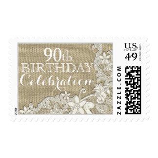Cumpleaños del cordón del estilo del vintage franqueo