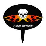 Cumpleaños del cráneo y de las llamas figuras para tartas