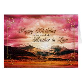 Cumpleaños del cuñado puesta del sol sobre las mo tarjeta