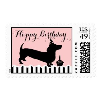 Cumpleaños del Dachshund Sello Postal