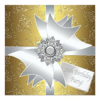 """Cumpleaños del damasco con clase blanco del regalo invitación 5.25"""" x 5.25"""""""