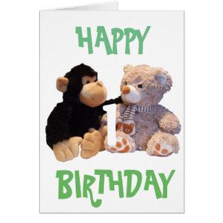 Cumpleaños del ~ de los amigos del mono y del oso tarjeta de felicitación