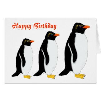 Cumpleaños del desfile del pingüino tarjeta de felicitación