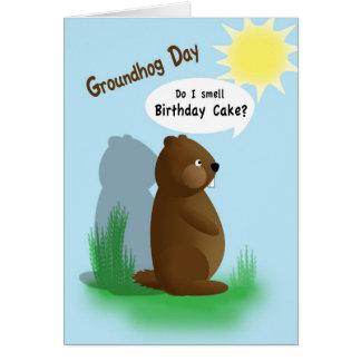 Cumpleaños del día de la marmota tarjeta de felicitación