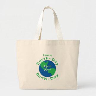 Cumpleaños del Día de la Tierra Bolsa Tela Grande