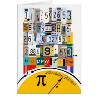 Cumpleaños del día del pi, números de crujido tarjetas