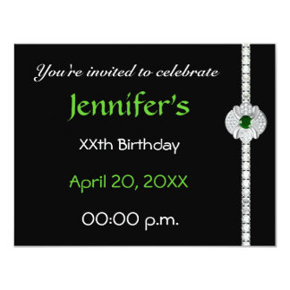 """Cumpleaños del diamante invitación 4.25"""" x 5.5"""""""