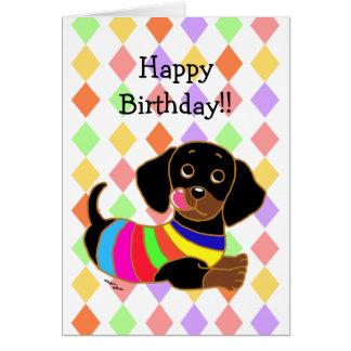 Cumpleaños del dibujo animado 2 del Dachshund Tarjeta De Felicitación