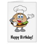 Cumpleaños del dibujo animado del cheeseburger tarjeta de felicitación