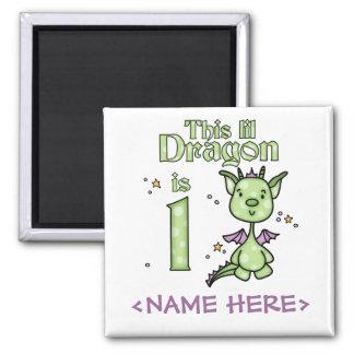 Cumpleaños del dragón de Lil 1r Imán Cuadrado
