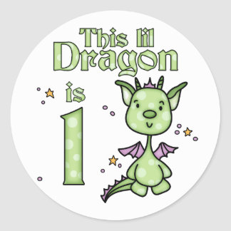 Cumpleaños del dragón de Lil 1r Pegatina Redonda