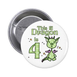 Cumpleaños del dragón de Lil 4to Pin Redondo De 2 Pulgadas