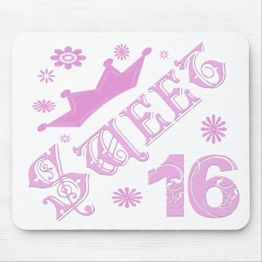 Cumpleaños del dulce 16 con la corona tapete de ratones