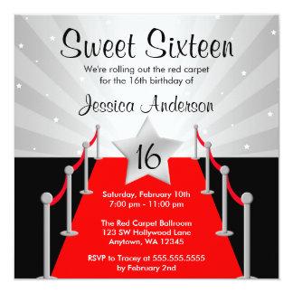 """Cumpleaños del dulce 16 de Hollywood de la plata Invitación 5.25"""" X 5.25"""""""