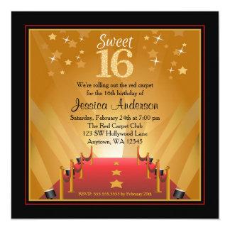 """Cumpleaños del dulce 16 de la estrella de invitación 5.25"""" x 5.25"""""""