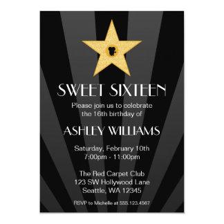 Cumpleaños del dulce 16 de la estrella del oro de invitación 12,7 x 17,8 cm