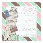 """Cumpleaños del dulce 16 de la torre inclinada de invitación 5.25"""" x 5.25"""""""