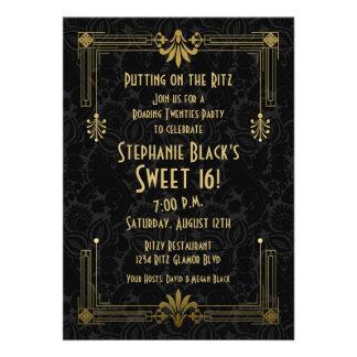 Cumpleaños del dulce 16 del art déco de los años 2 invitacion personalizada