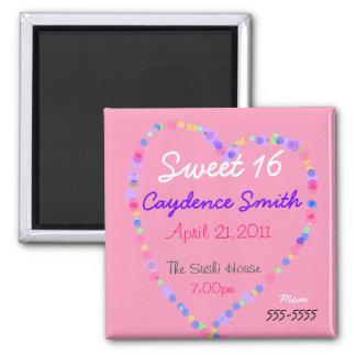 Cumpleaños del dulce 16 del corazón del caramelo imán cuadrado