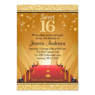 Cumpleaños del dulce 16 del oro de la estrella de invitación 12,7 x 17,8 cm