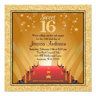 """Cumpleaños del dulce 16 del oro de la estrella de invitación 5.25"""" x 5.25"""""""