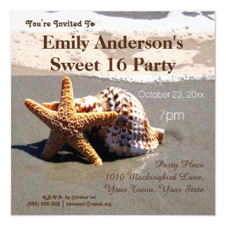 """Cumpleaños del dulce 16 del Seashell de las Invitación 5.25"""" X 5.25"""""""