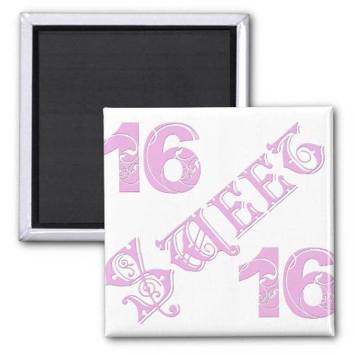 Cumpleaños del dulce 16 imanes para frigoríficos